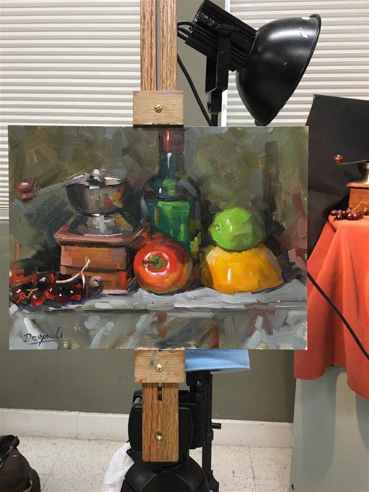 """Apple and coffee grinder"" original fine art by Dipali Rabadiya"