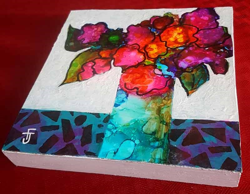 """Funky Flower 5"" original fine art by Francine Dufour~Jones"