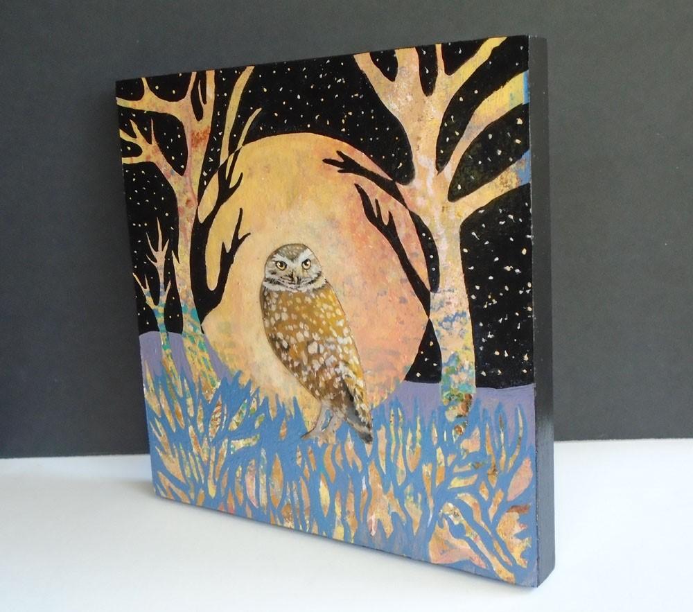 """Burrowing Owl"" original fine art by Rhett Regina Owings"