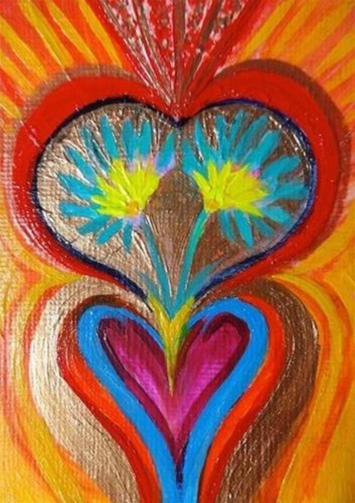 """""""4031 - GROWING IN LOVE ACEO"""" original fine art by Sea Dean"""