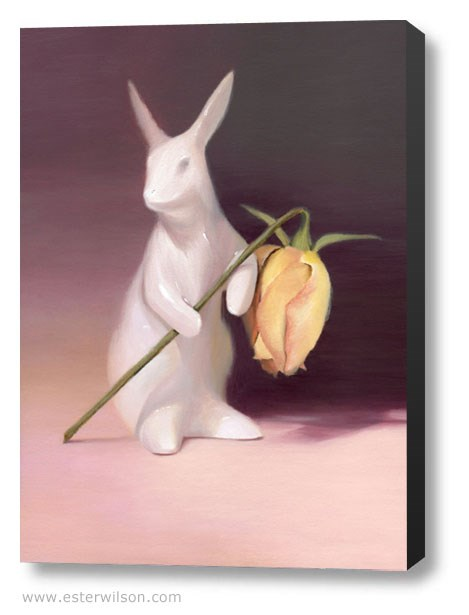 """Pink Rabbit"" original fine art by Ester Wilson"