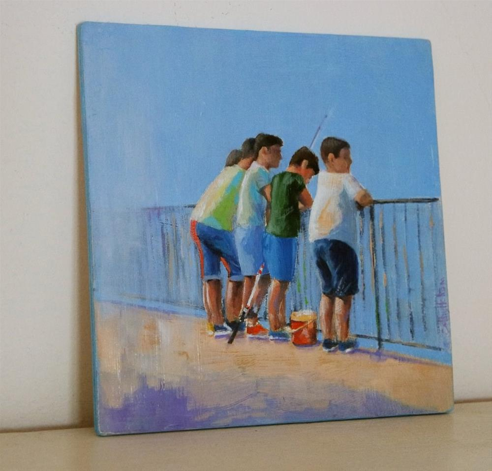 """""""Five Boys and a Fishing Rod"""" original fine art by Cathy Holtom"""
