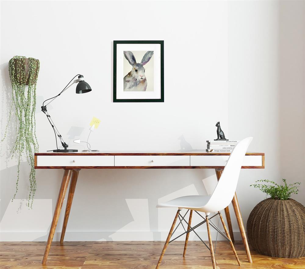 """Gina the Grey Rabbit"" original fine art by Arti Chauhan"