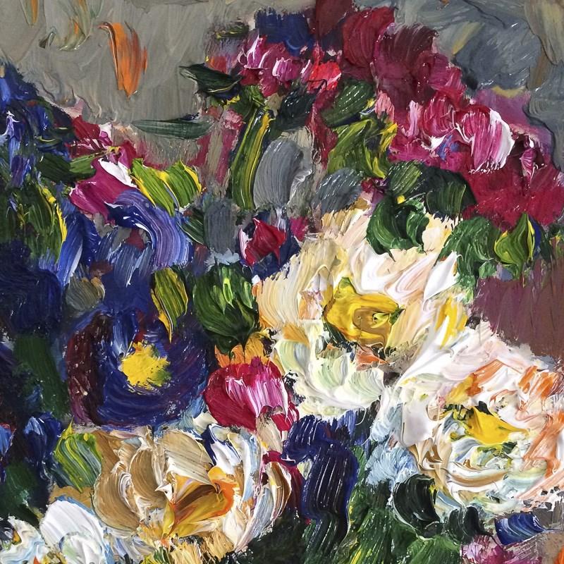 """Blue, Red and White Сhrysanthemum Flowers"" original fine art by Anna Fine Art"