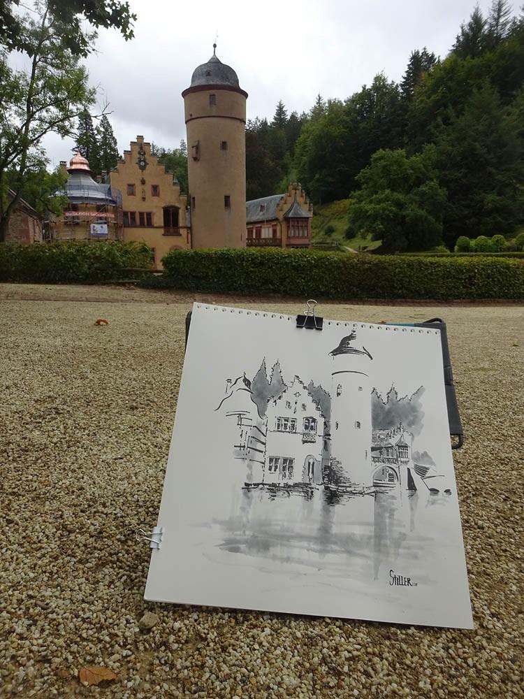 """""""3325 Schloss Mispelbrunn"""" original fine art by Dietmar Stiller"""