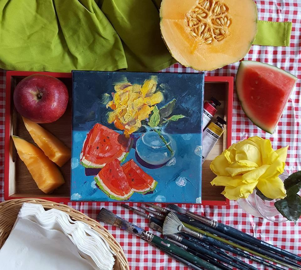 """Whispering Rose - Watermelon, rose, & polka dots"" original fine art by Bhavna Misra"