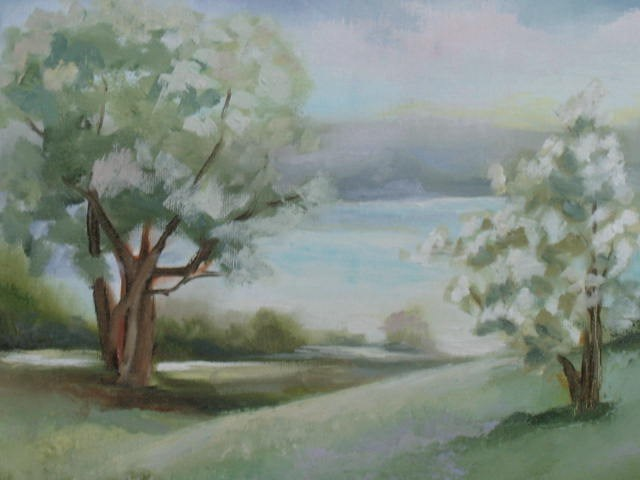 """""""Along the Waterway:  8 x 16 with recycled frame"""" original fine art by Brenda Kollman"""