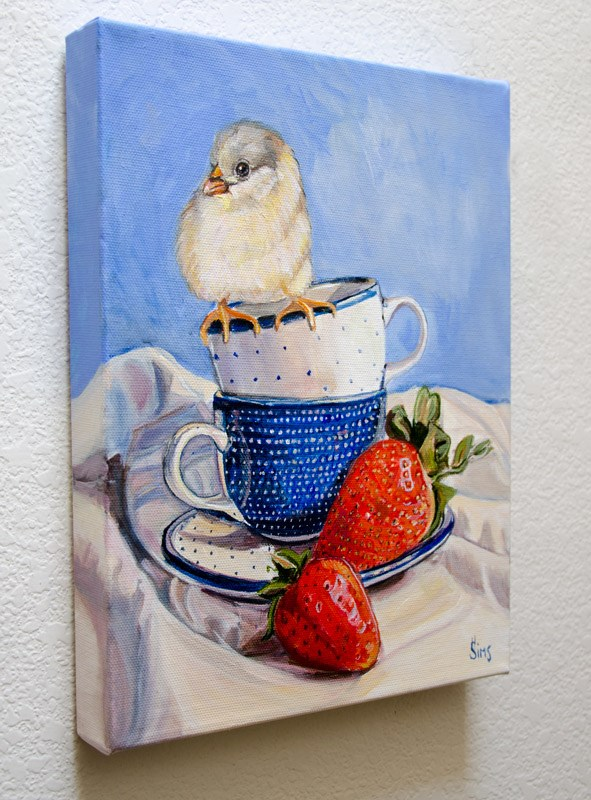 """""""Strawberries and a Chick: Polish Pottery XCIII"""" original fine art by Heather Sims"""