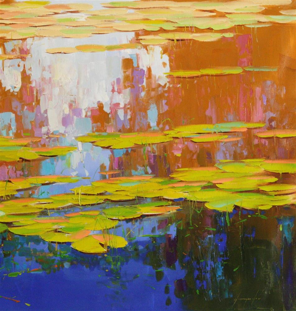 """""""WATERLILIES ORIGINAL LARGE OIL PAINTING ON CANVAS IMPRESSIONISM"""" original fine art by V Y"""