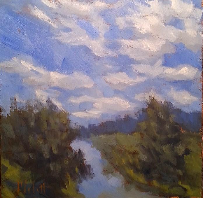 """Erie Canal Waterway Landscape Oil Painting"" original fine art by Heidi Malott"