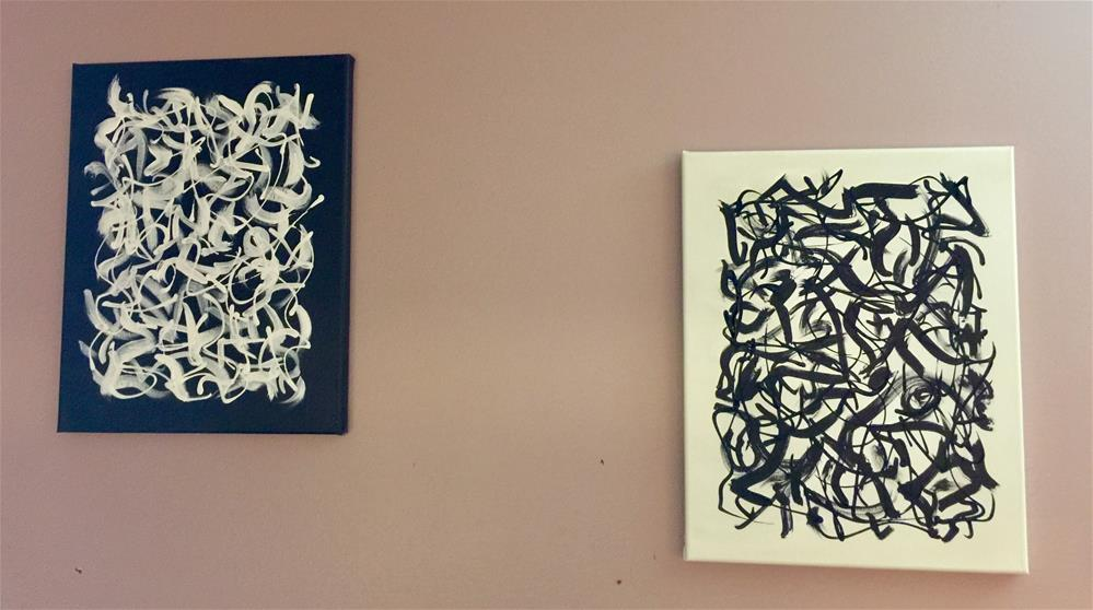 """He said She said diptych "" original fine art by Patricia Disantis"