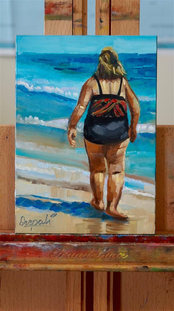 """Beach walk"" original fine art by Dipali Rabadiya"