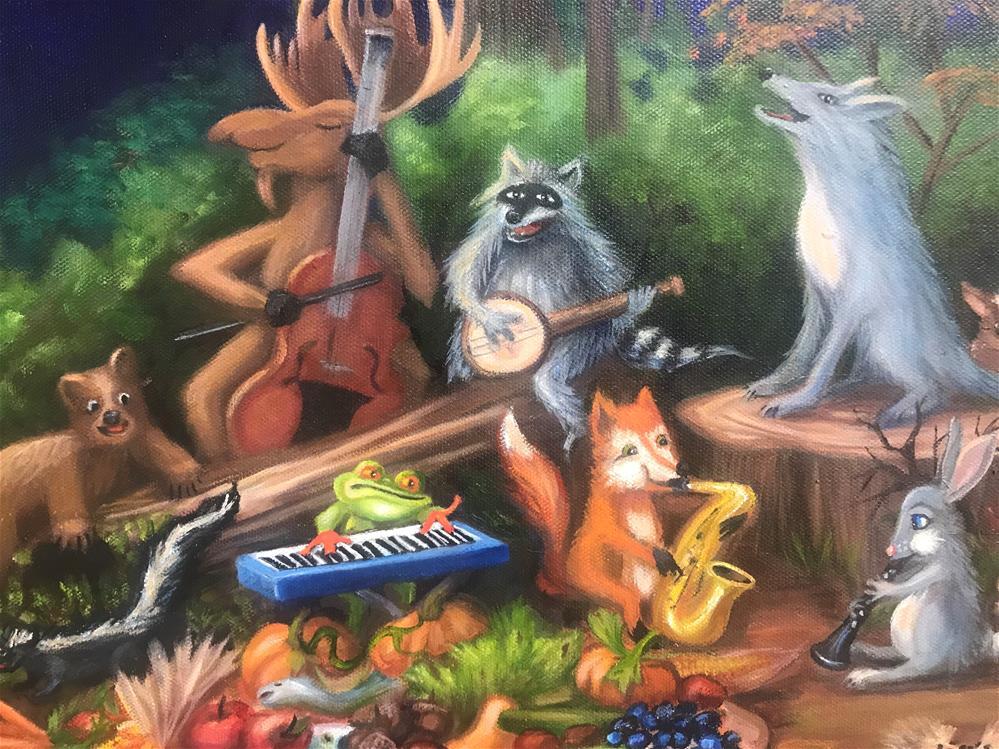 """Woodland Fun "" original fine art by Joetta Currie"
