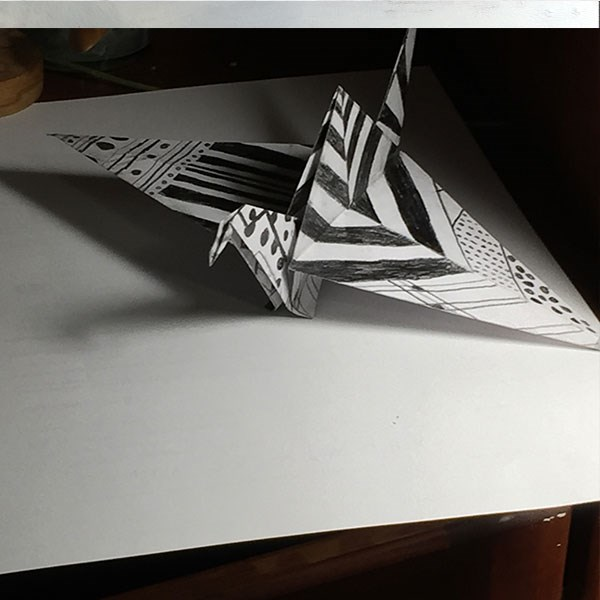 """Andrew's Paper Crane"" original fine art by Merle Manwaring"
