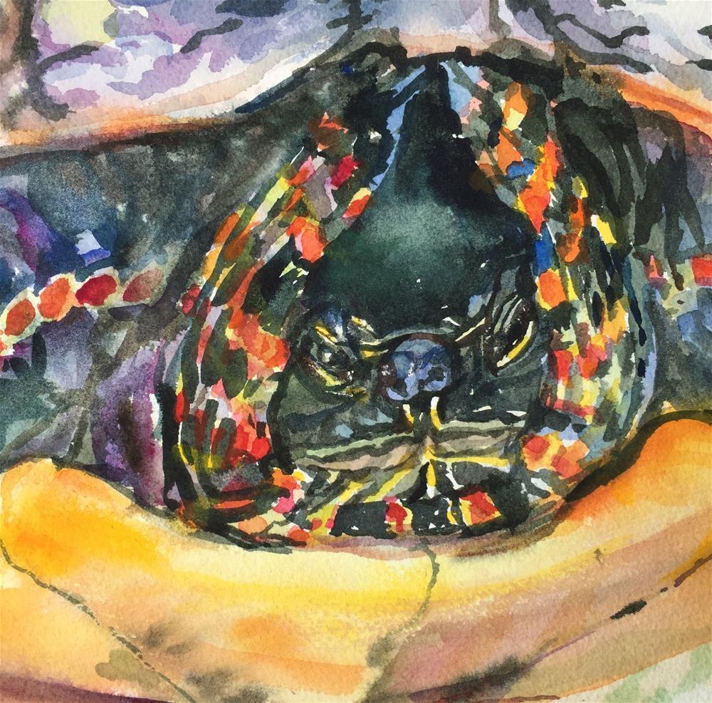 """Hunkered-Down Turtle"" original fine art by Jean Krueger"