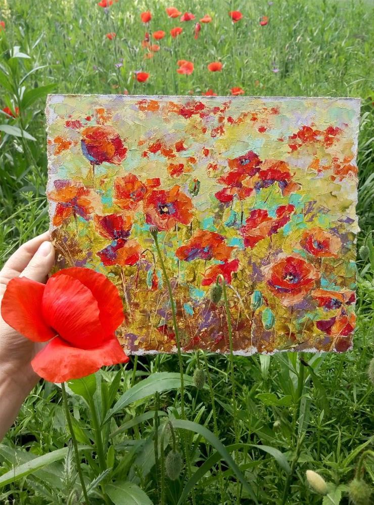 """Red Poppies"" original fine art by Valerie Lazareva"