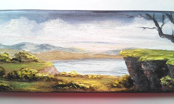 """Tree on Cliff "" original fine art by Camille Morgan"