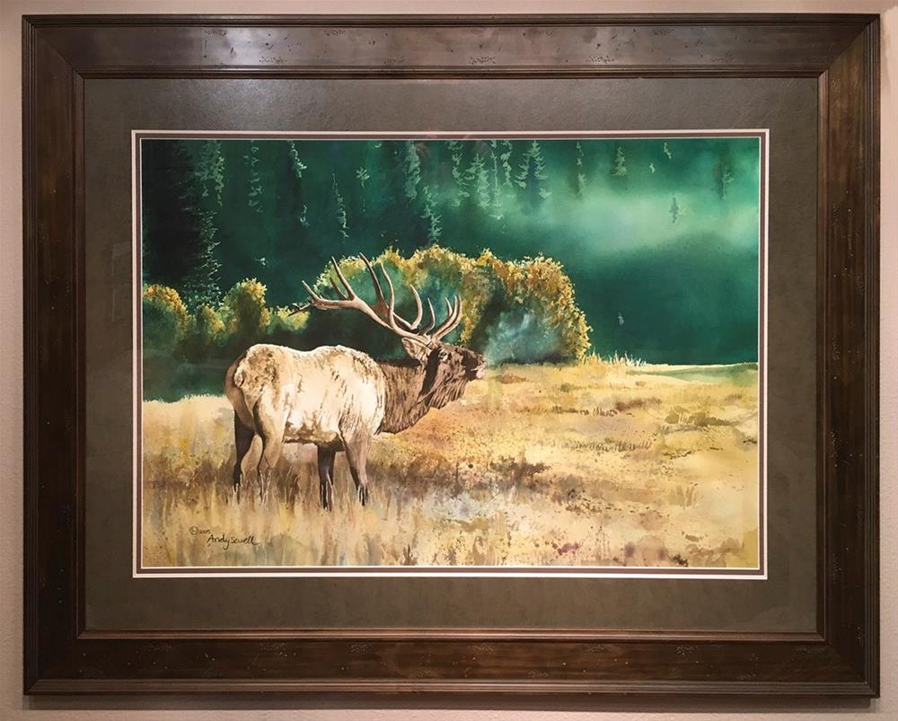 """""""Misty Morning Bull"""" original fine art by Andy Sewell"""