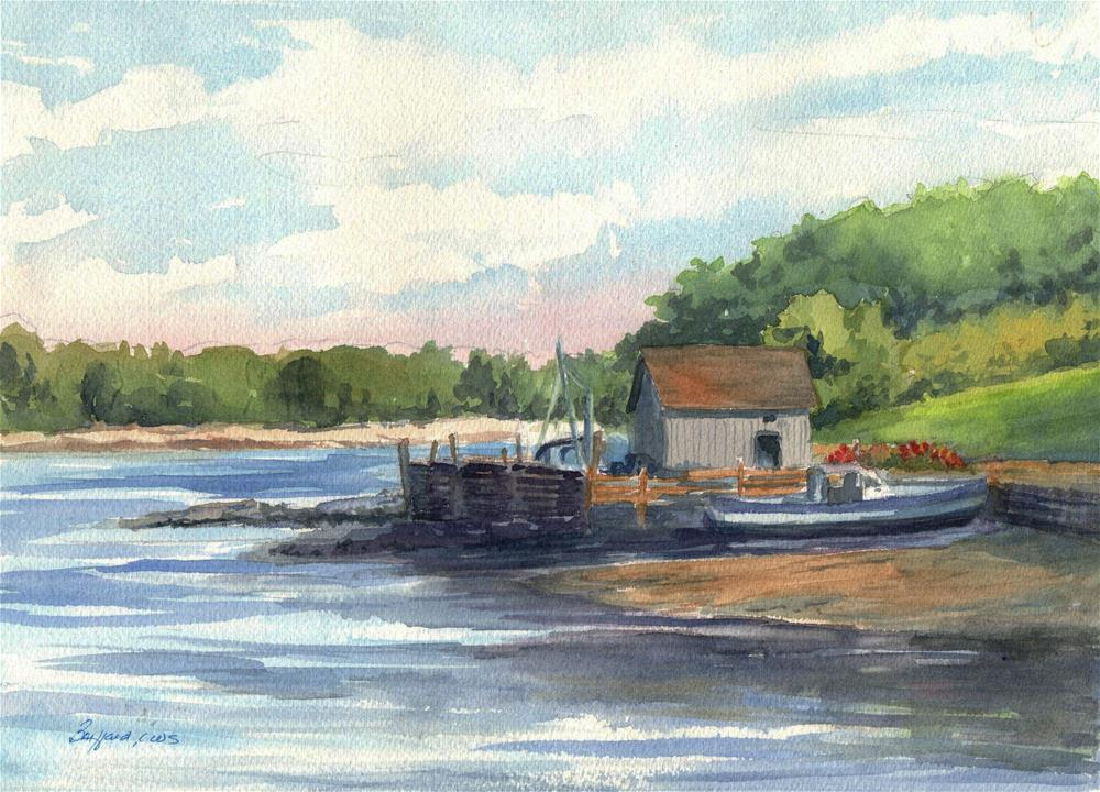 """Maine Fishing Shack"" original fine art by Vikki Bouffard"