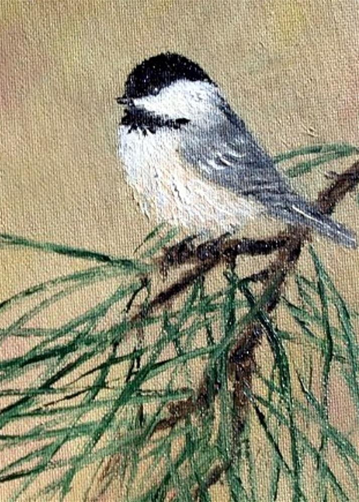 """Chickadee Set 17 - Bird 2 (of matched pair of framed oval paintings)"" original fine art by Kathleen McDermott"