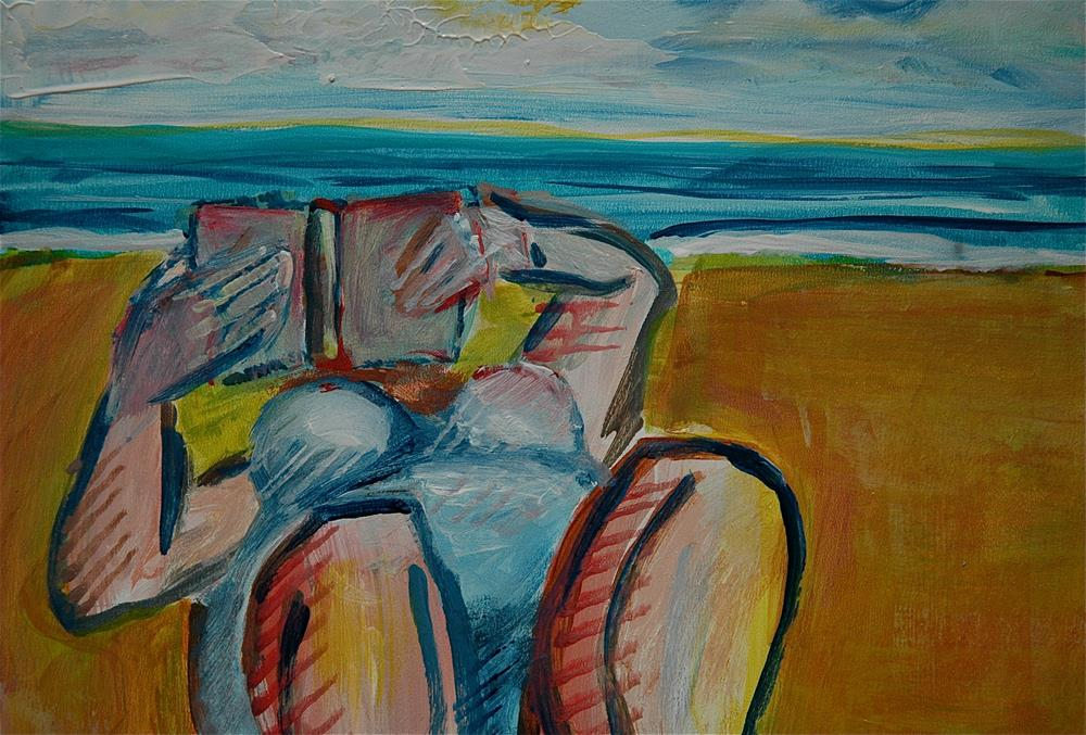 """Woman reading by the sea (after Ticha)"" original fine art by Ulrike Schmidt"