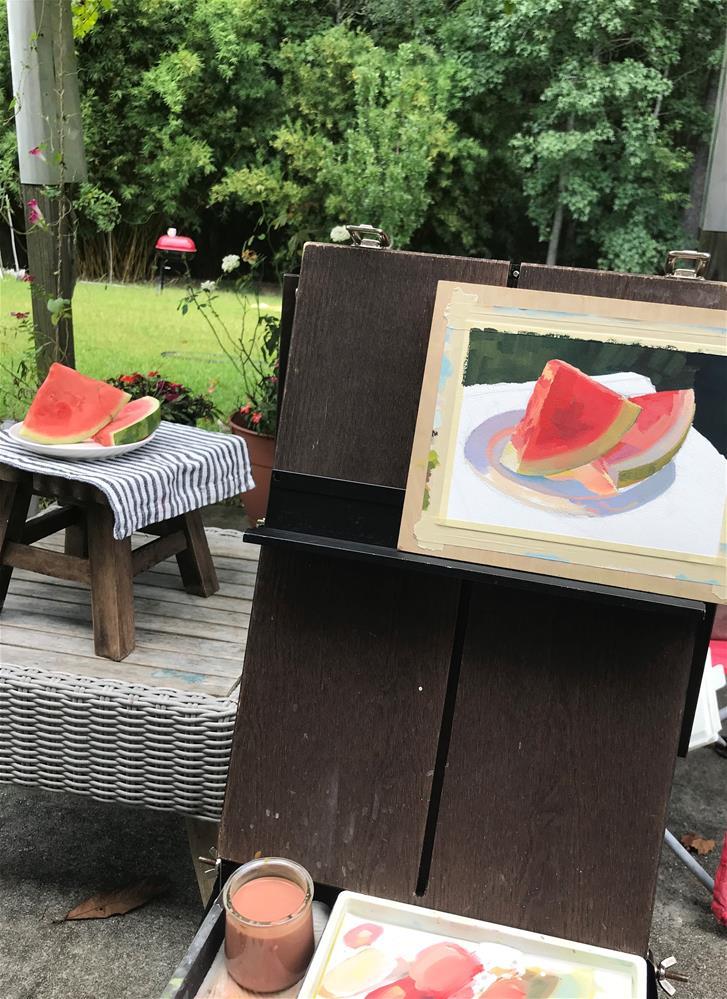 """Two slices of watermelon "" original fine art by Julia Kamenskikh"