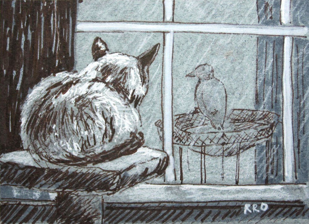 """Bird Watching - ACEO"" original fine art by Rhett Regina Owings"