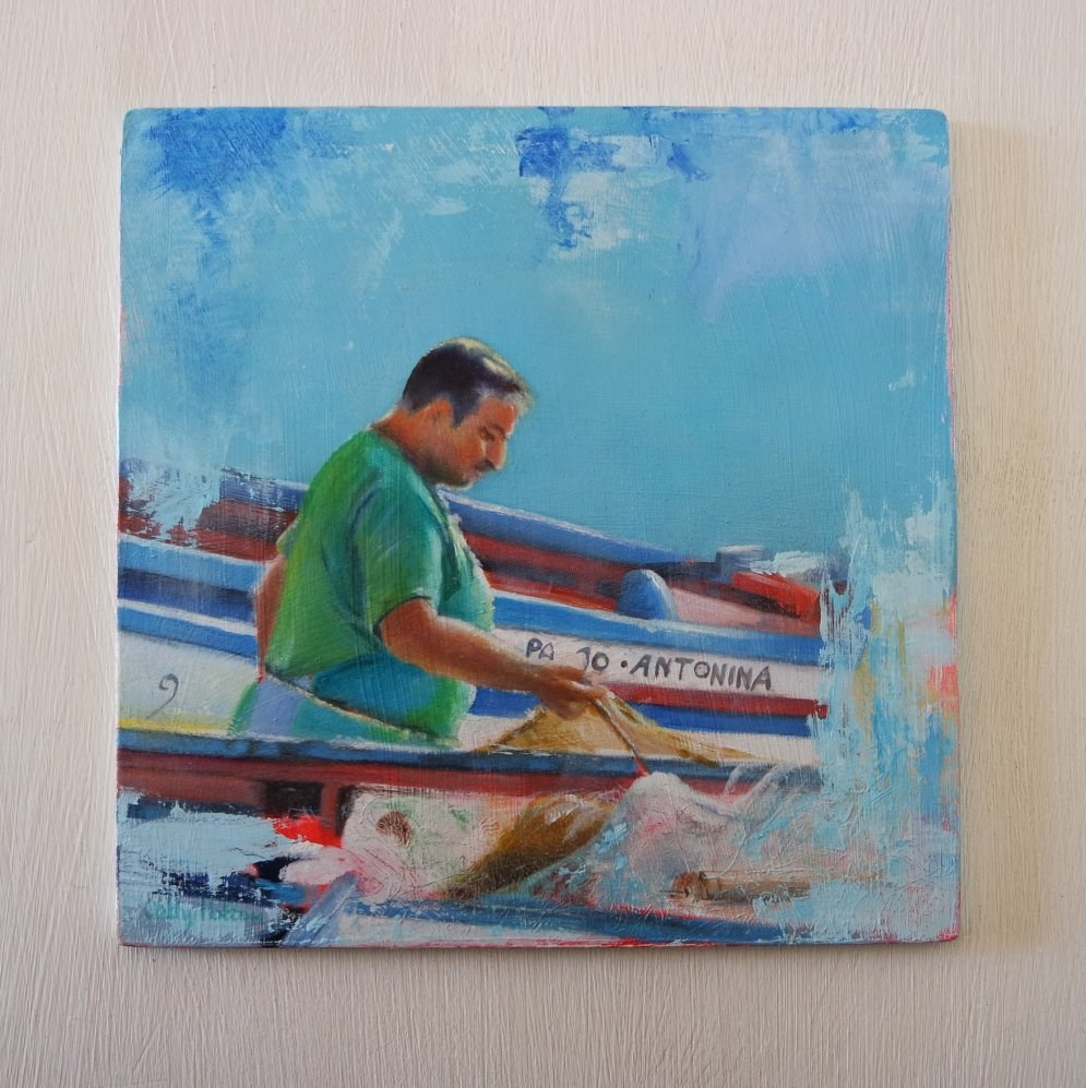 """Mr Sardine"" original fine art by Cathy Holtom"