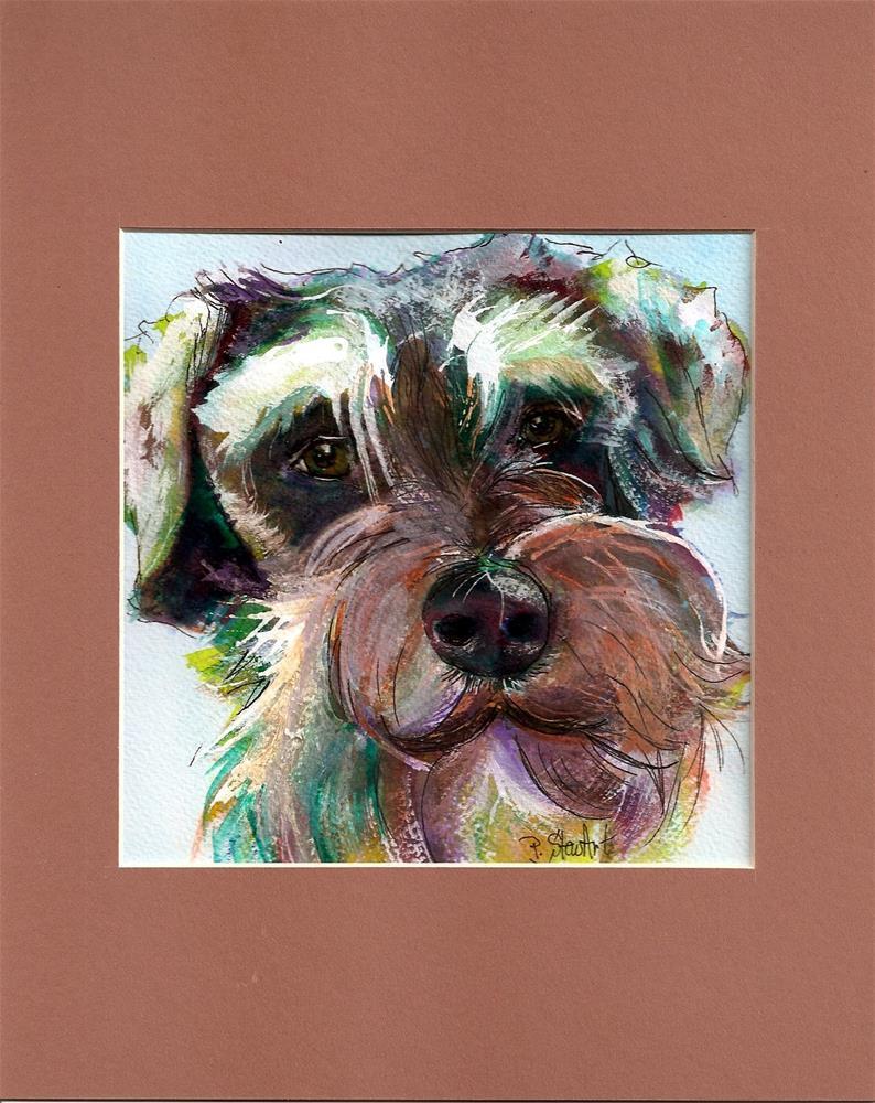 """""""7x7 Schnauzer Watercolor Dog Puppy Pet Portrait by Penny Lee StewArt"""" original fine art by Penny Lee StewArt"""