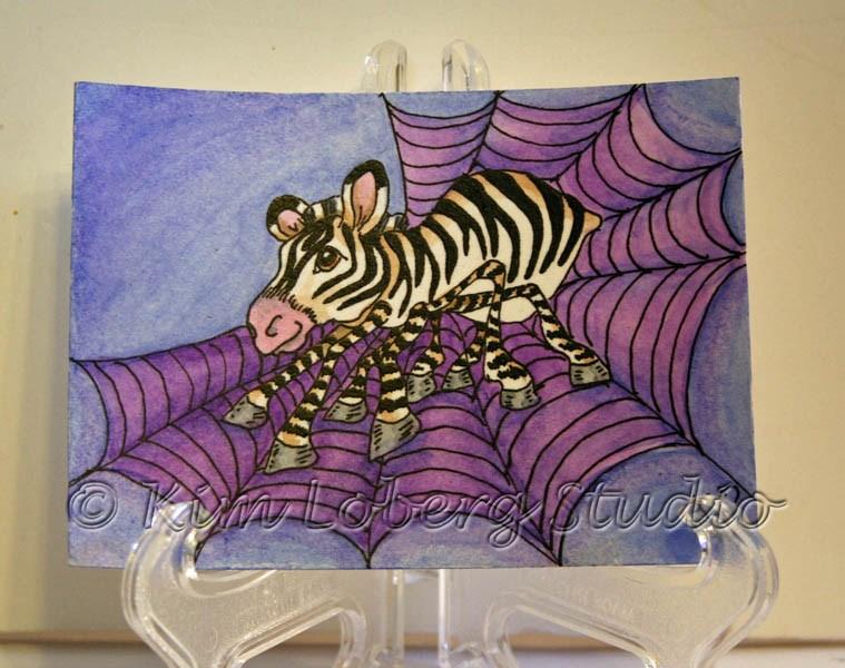 """Spider Zebra"" original fine art by Kim Loberg"