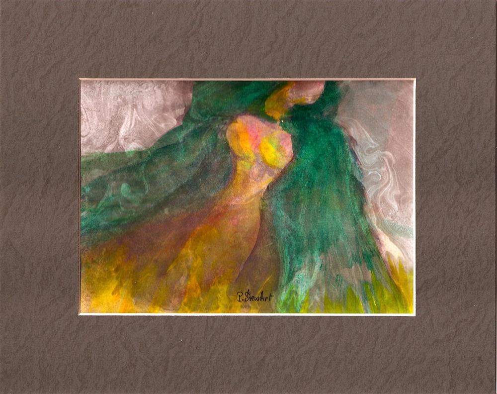 """5x7 Lady in Green Hooded Cloak Marbled background Watercolor Penny StewArt"" original fine art by Penny Lee StewArt"