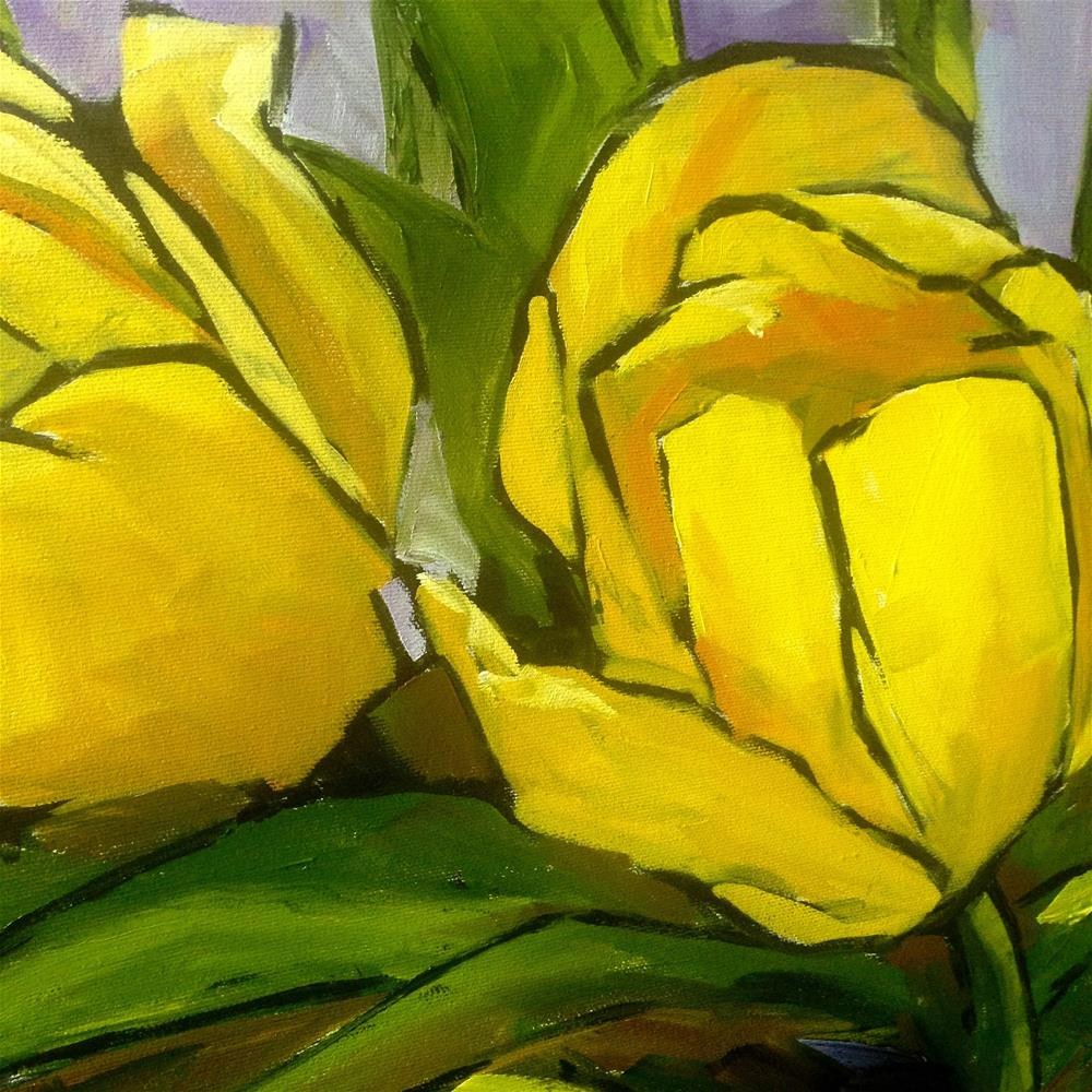 """Six Yellow Tulips   24x24"" original fine art by Eileen Hennemann"