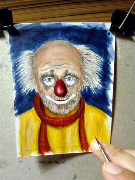 """Clown #40"" original fine art by Birsen Ozbilge"
