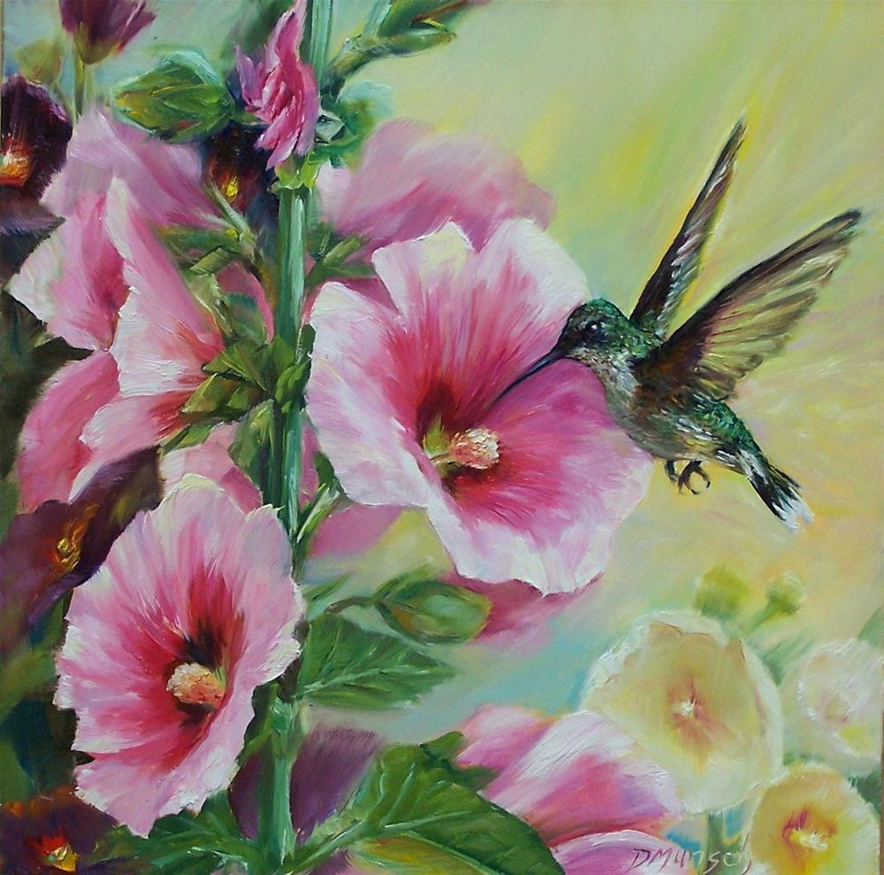 """""""Hollyhock Hummingbird"""" original fine art by Donna Munsch"""
