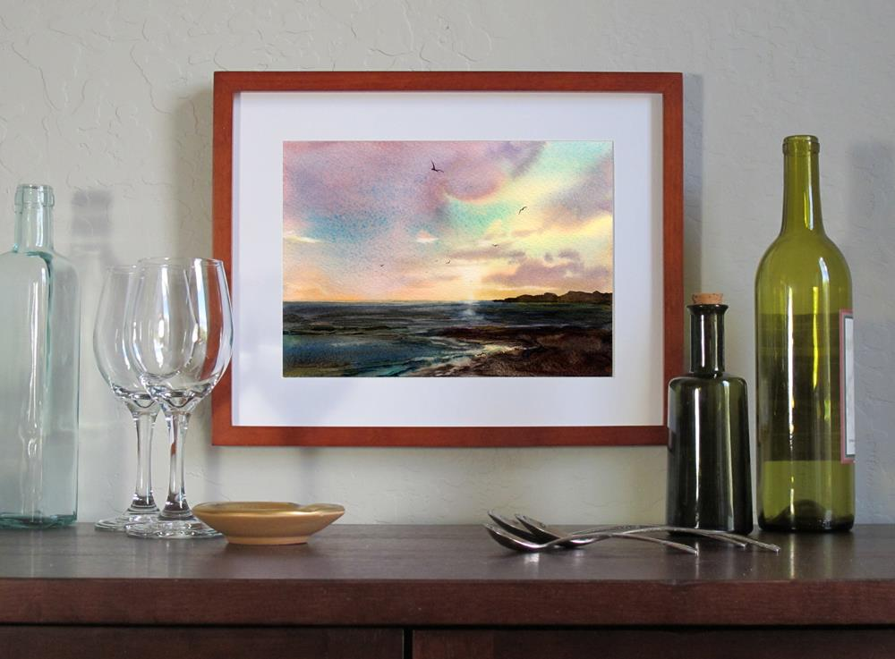 """Coastal Sunset"" original fine art by Linda Henry"