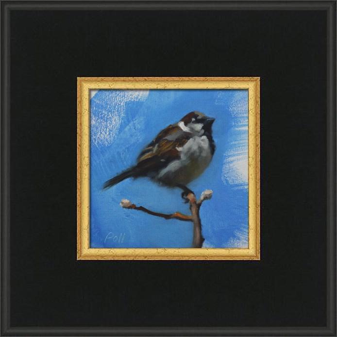 """Spring Sparrow (framed)"" original fine art by Pamela Poll"