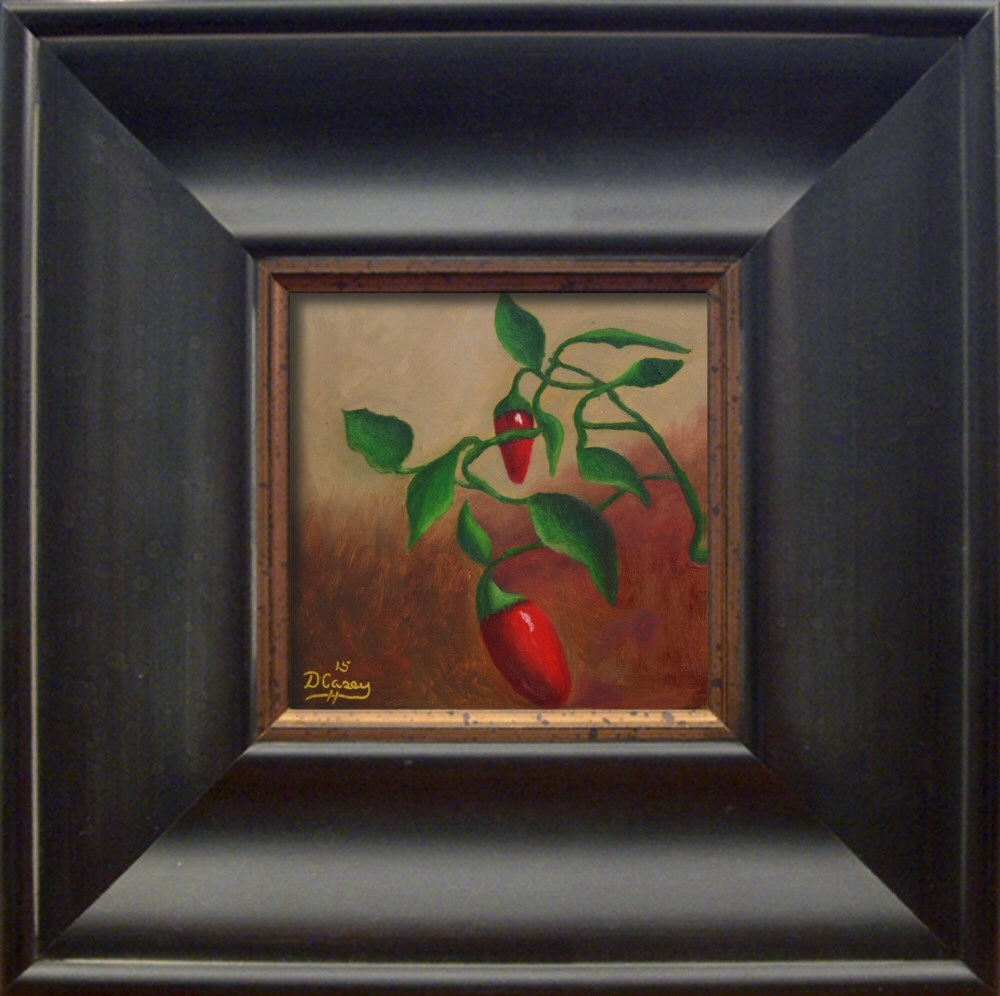 """Kitchen Painting – Chili Peppers 002 6×6 oil on wood panel – Dave The Daily Painter"" original fine art by Dave Casey"