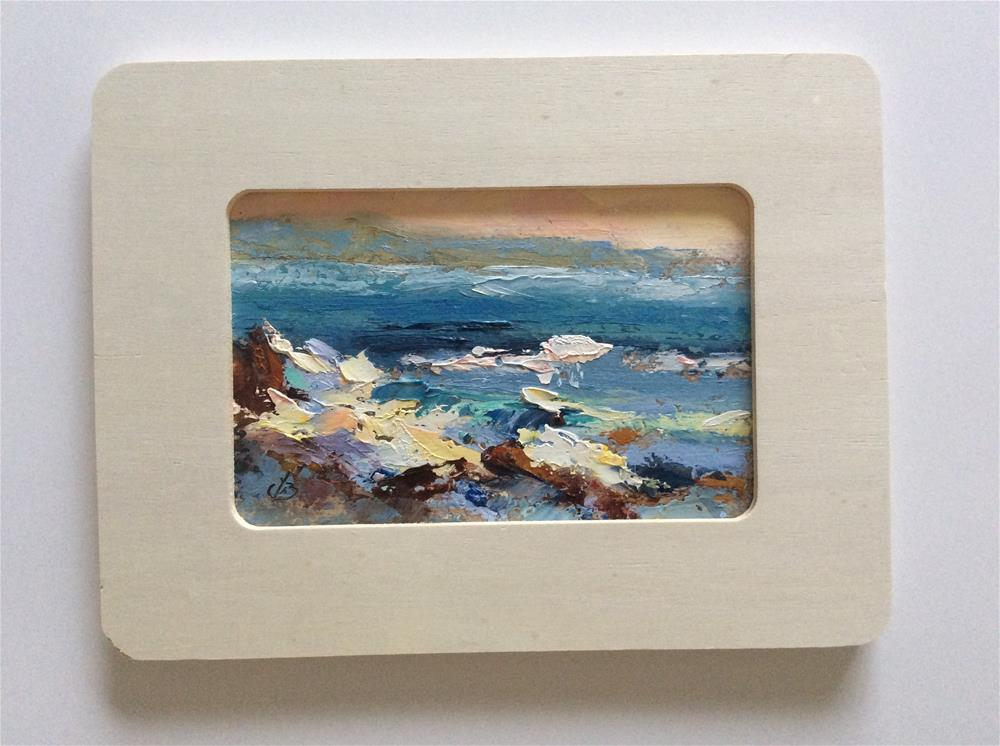 """FRAMED COASTAL SEASCAPE"" original fine art by Tom Brown"
