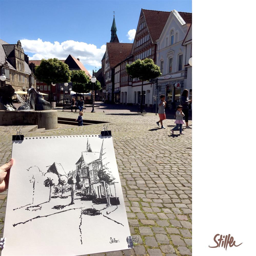 """""""3565 Stadthagen"""" original fine art by Dietmar Stiller"""