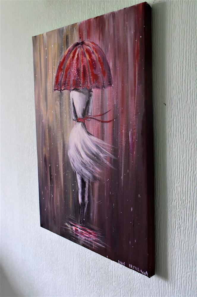 """A girl walking in the rain"" original fine art by Iryna Scott"