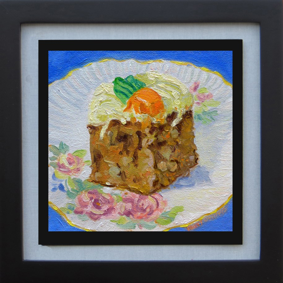 """Carrot Cake on an Antique Saucer"" original fine art by Rhett Regina Owings"