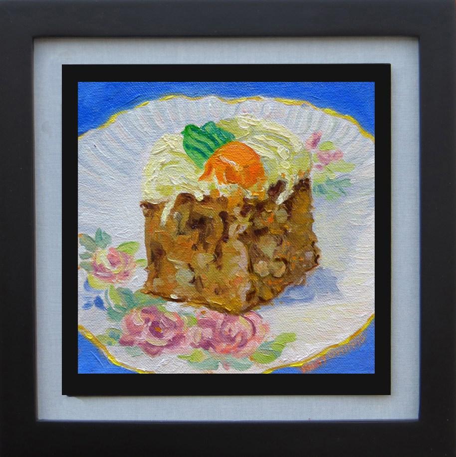 """""""Carrot Cake on an Antique Saucer"""" original fine art by Rhett Regina Owings"""