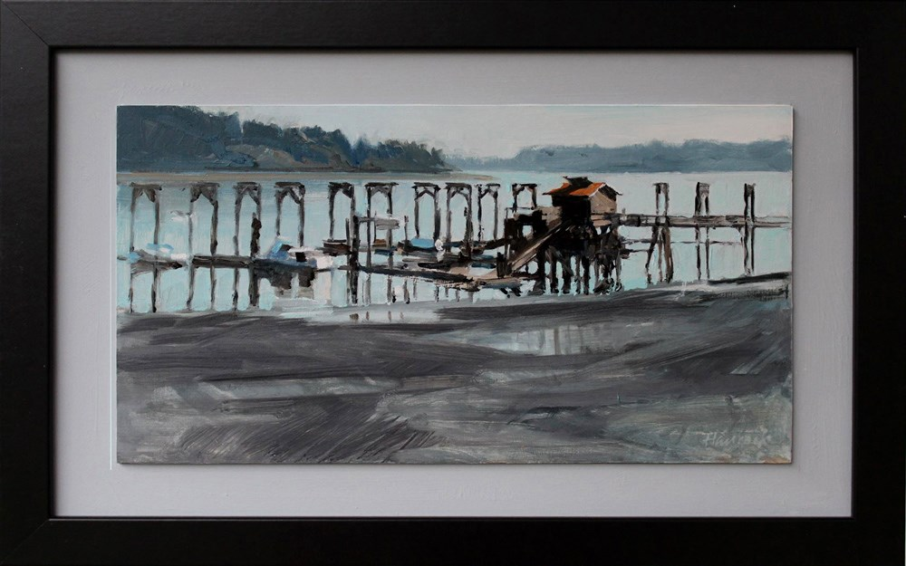 """Dockton Marina at Low Tide"" original fine art by Gretchen Hancock"