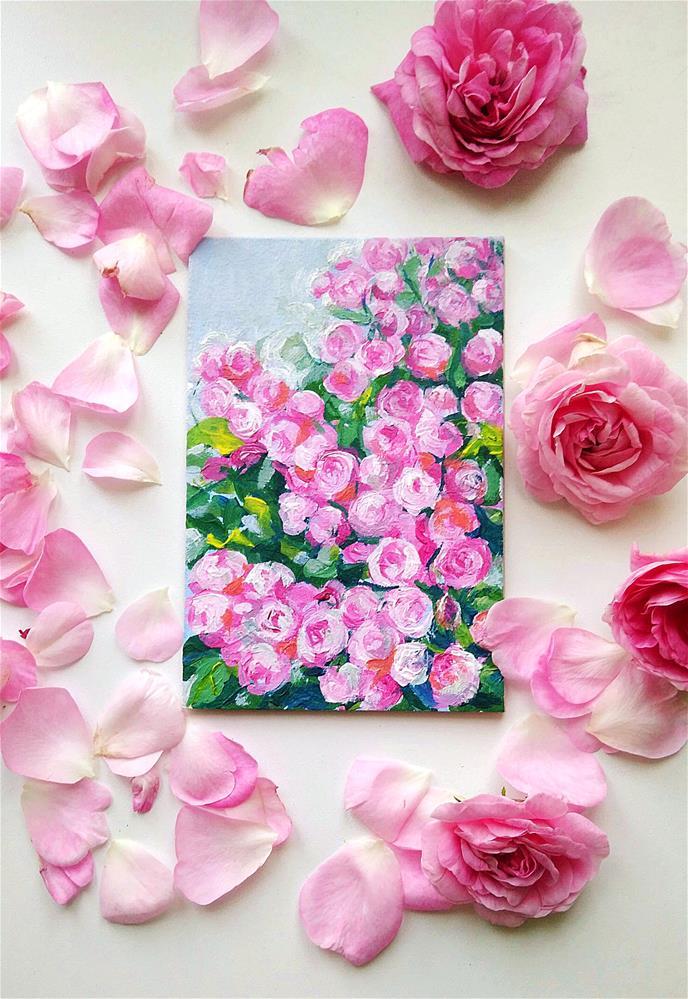 """Roses Small acrylic artwork Home interior picture"" original fine art by Elena Konysheva"