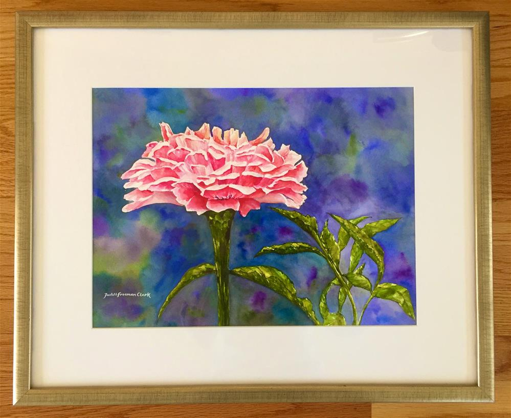 """Zinnia III, framed"" original fine art by Judith Freeman Clark"
