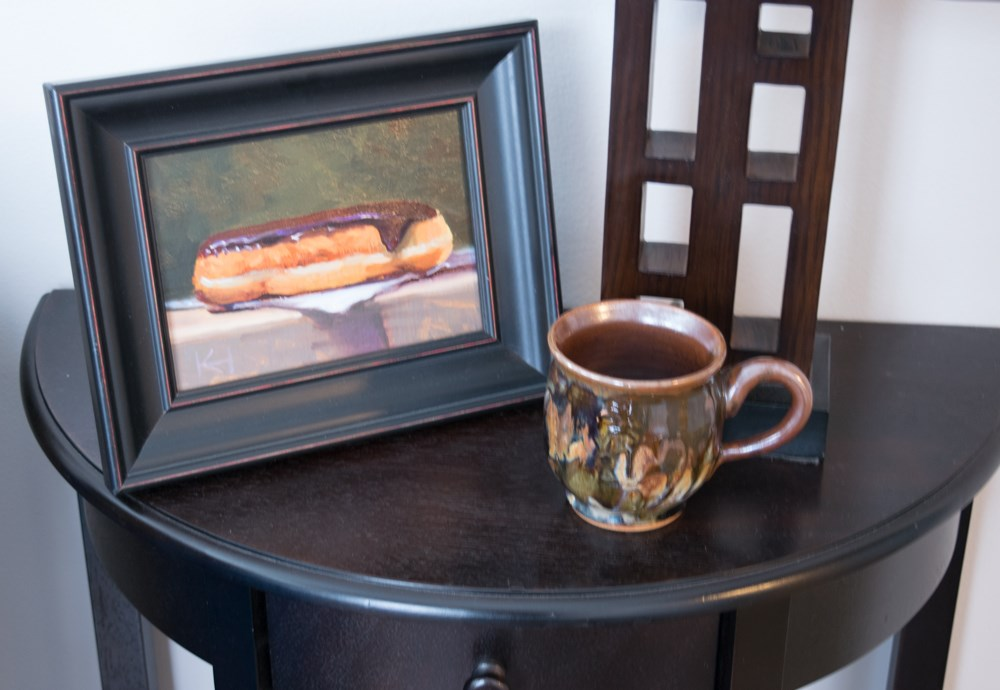 """""""Painting of a Chocolate Covered Long John"""" original fine art by Kevin Russell Hunter"""