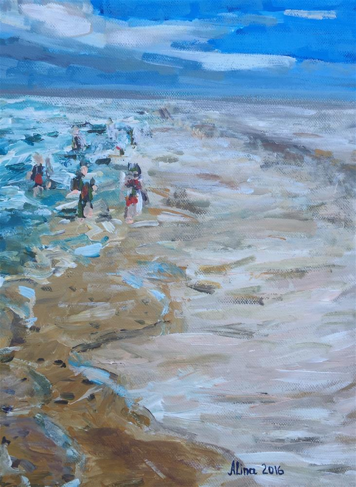 """Beach Scene"" original fine art by Alina Vidulescu"