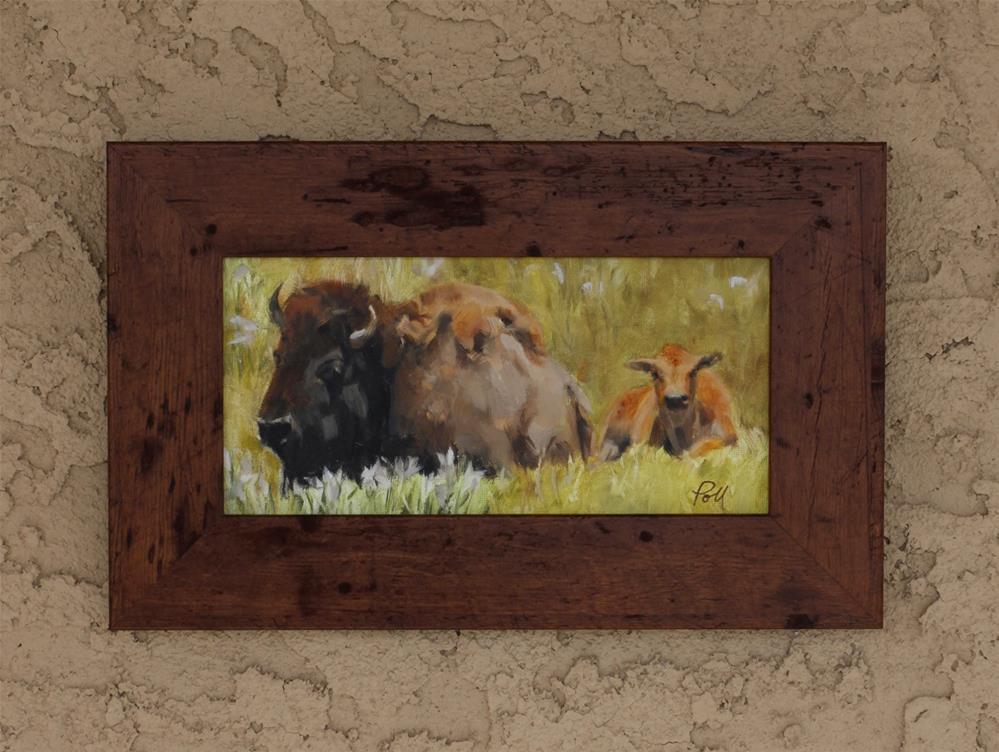 """""""Baby Bison (framed)"""" original fine art by Pamela Poll"""