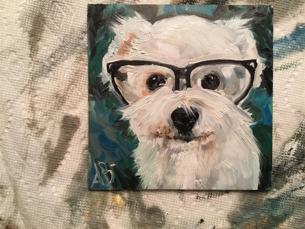 """Busy Bichon"" original fine art by Annette Balesteri"