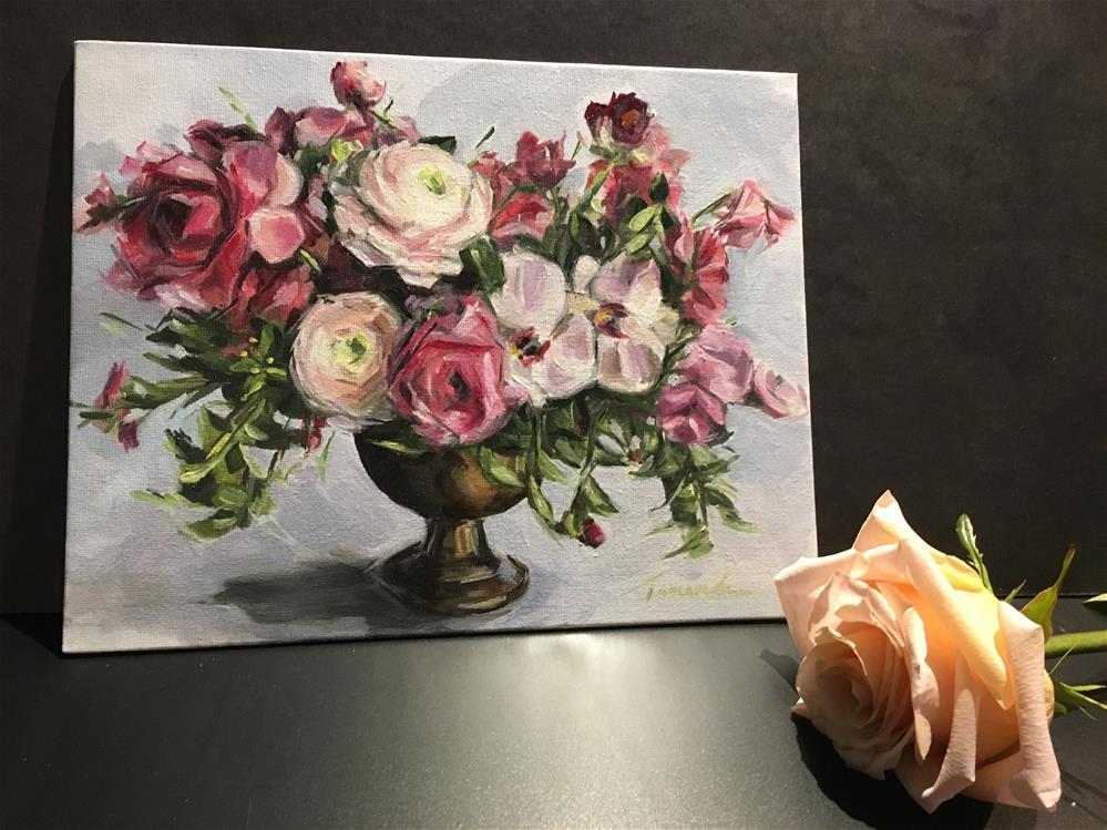 """Raspberry Fun Floral (189)"" original fine art by Tamanda Elia"